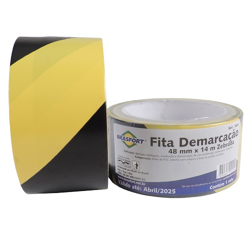 FITA DE DEMARCACAO ZEBRADA 48MM X 14M - BRASFORT
