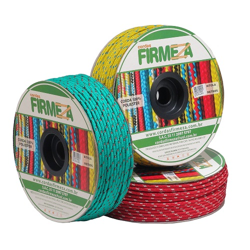 CORDA COLORIDA PET CARRETEL 12MM 105M - FIRMEZA