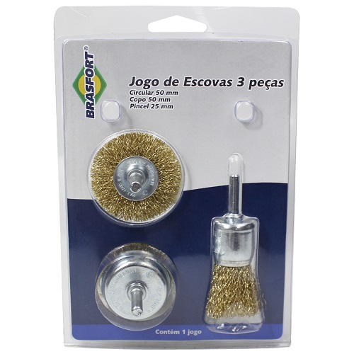 JOGO ESCOVA DE ACO C/ 3 PECAS CIRCULAR/COPO/PINCEL - BRASFORT