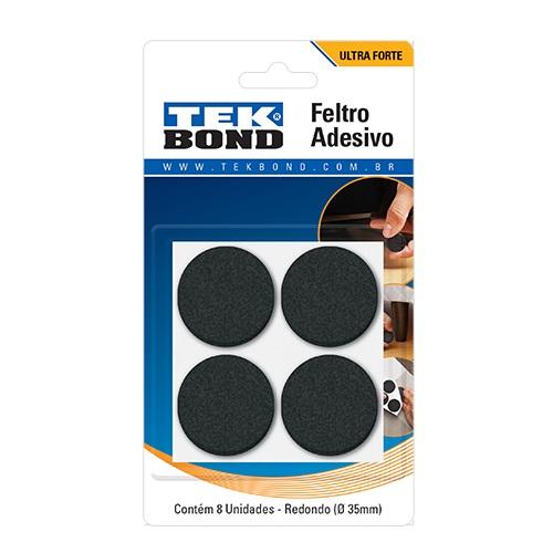 FELTRO REDONDO 35MM PRETO C/ 8 - TEKBOND