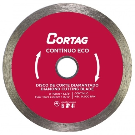 DISCO DIAMANTADO CONTINUO LISO 110MM - CORTAG