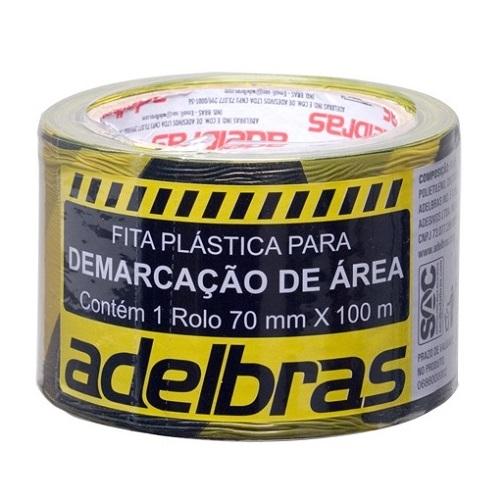 FITA DE DEMARCACAO ZEBRADA 70MM X 100M S/ ADESIVO - ADELBRAS